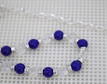 Gemstone Necklace - Lapis Mountain Jade and Faceted Clear Quartz - Adjustable from 18 to 24 Inches