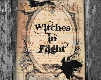 Spooky Witch In Flight Halloween Gift or Scrapbook Tags or Magnet #171