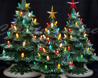 old fashioned ceramic christmas tree 3 tree collection lights are glued in - Old Fashioned Christmas Tree Lights