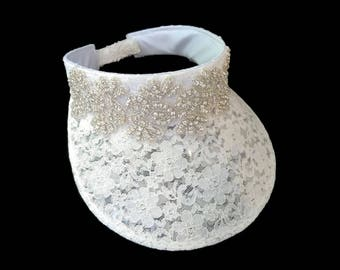 "Women's Golf Visor, Jeweled Visor, Golf Gift, Bachelorette Party Visor in White Lace and Crystal is - ""Lovely in Lace and Bling"""