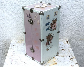 Doll Steamer Trunk Wardrobe / Doll Case - White and Pale Pink with Silver Corner Protectors and Hardware