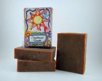 SANDALWOOD VANILLA Handmade Soap, Vegan, Made in the USA, American Made Gifts