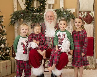 Christmas Shirt, Kid Holiday Shirt, Santa Visit Outfit, Deer Shirt, Family Shirts, Family Photos, Girls Nightgown, Girls Plaid Pajamas