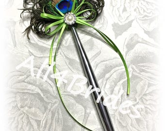 Peacock Feather Pen, Peacock Wedding Pen, Guest Book Peacock Pen