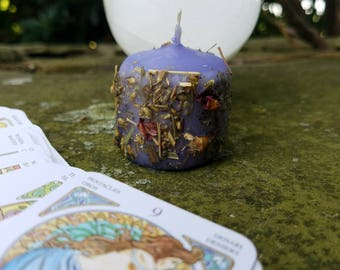 DIVINATION- Hand-Dipped Herbal Spell Votive Candle for Clairvoyance, Tarot, Psychic Awareness, Fortune Telling, Scrying