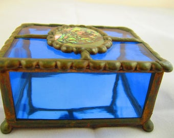 Glass, copper and abalone jewelry box