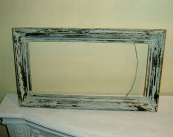 """Distressed White Wood Frame chippy paint black gold rectangle 7"""" x 14"""" old vintage antique wooden picture art framing"""
