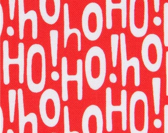 215818 red Michael Miller fabric white letter Christmas Holiday Ho