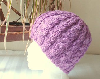 Handspun Cable Beanie. Wild Rose. Lavender. Mauve. Pale Violet. Light Purple Knit Hat. Hand Knit Wool Hat. Beanies for Her. Gifts for Women.