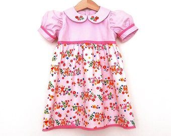 WOODLAND PARTY girls handmade pink dress with short puff sleeves and hand embroidered peter pan collar, size 2 years