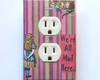 Pink stripes & florals- Alice Outlet Cover plates with MATCHING SCREWS- Alice in Wonderland wall decor Alice nursery Alice electrical outlet