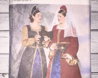 Butterick 6197 P414 Renaissance Era Dress Gown Making History Costume Ren Faire Sewing Pattern Misses Size 28 - 30 - 32  Plus Size UNCUT