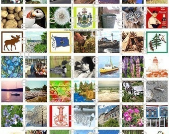 Maine and New England Digital Collage Sheet 1x1 Inch Squares 63 Different Images Scrapbooking