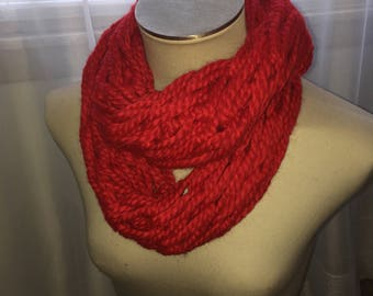Arm Knit Infinity Scarf- Red