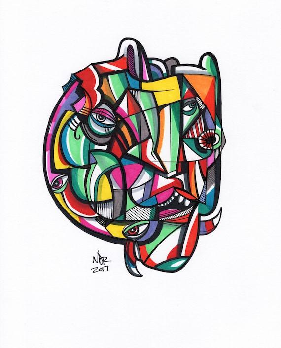 "Chroma Head - Original mixed media Illustration on Bristol - 8"" x 10"""