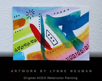 ACEO Original Hand-Painted One-of-a-Kind Abstract Mini Watercolor Signed Painting by Lynne Neuman #4358 OOAK Miniature Small Format Art ATC