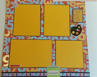 School themed Pre-Made Scrapbook Album Page, 12x12 Quick Page, Elementary Grade High School,  yellow red green blue