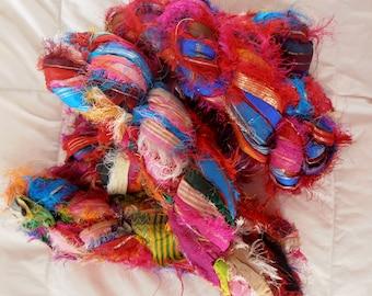100 grams 1 skein recycled zari silk ribbon  knitting crochet craft embellishment yarn multi color metallic