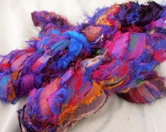 400 grams 4 skeins recycled silk ribbon  knitting crochet craft embellishment yarn purple blue