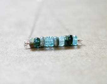 dark green tourmaline and apatite bar necklace. rose gold filled chain. multi color tourmaline with apatite bar pendant necklace. blue green