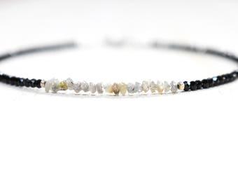 tiny black garnet & raw diamond bracelet. tiny rough diamonds with faceted black garnet. gray raw diamonds and black garnet beaded bracelet