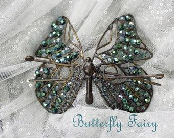Butterfly Fairy - Crystal and Brass Bun Hair Adornment