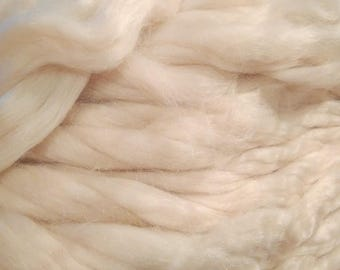 White Mohair Roving 8 oz Alba Ranch Undyed Combed Top Dyeable