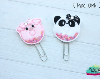 Donut Planner Clip { Moo OInk } sprinkles pig, curly q, piglet, pig gold Paper Clips, Stationary, Planner Supplies, gift, parade, party