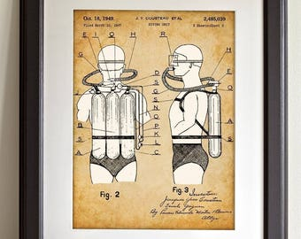 Jacques Cousteau Scuba Diving Tank Art - 11x14 Unframed Patent Print - Great Gift for Suba Divers