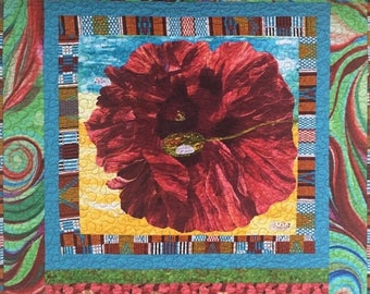 Summer sale Give Yourself a Dream Flower 38x40 inch art quilt