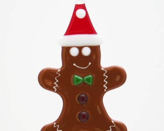 Glassworks Northwest - Gingerbread Man with a Santa Hat - Fused-glass Ornament