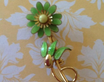Vintage Brooch Lime Green Enamel Flower Blossom jewelry
