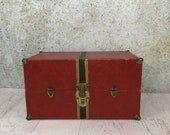 Vintage Doll Wardrobe Trunk- SUITCASE Red with Stripe- Travel Case- Vintage Doll Clothes Steamer Trunk- Doll Collectible