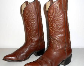 Mens 10 D Cowboy Boots Brown Vintage Country Urban Western Shoes Acme Brand