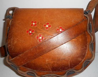 Vintage Leather Purse Red Poppies Flowers Floral Design Boho Western Shoulder Bag