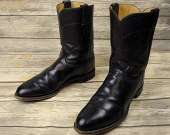 Mens 11.5 D Cowboy Boots Classic Black Leather Justin Ropers Country Western