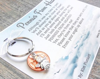 Pennies From Heaven Keychain  - Original Poem - With Penny & Cute Angel Charm