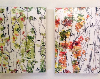Birch Forest, Mounted Prints, Birch Trees, Woodland Nursery, Ready to Hang Art, Diptych, Four Seasons, Enchanted Forest, Canvas Mounted, 4x6