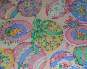 Easter Eggs on Yellow background Cranston Print Works Fabric