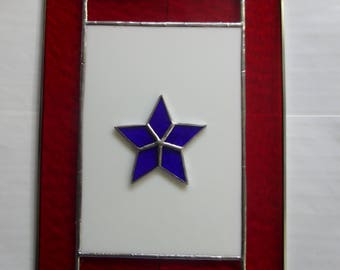 Stained Glass Blue Star Service Flag Patriotic