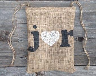 Personalized Tote Bag, Dollar Dance Bag, Burlap Lace Wedding, Burlap Bag, Drawstring Bag, Bridal Shower Gift, Maid of Honor Bag, Rustic Bag