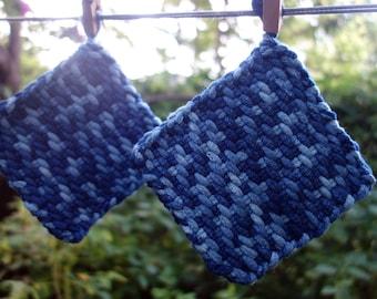 "Wool Pot Holder Set Pair of Indigo Blue Small Wool Potholders or Trivets Natural Dye Hand Woven Trivet 5 1/4"" Light and Dark Blue Potholders"