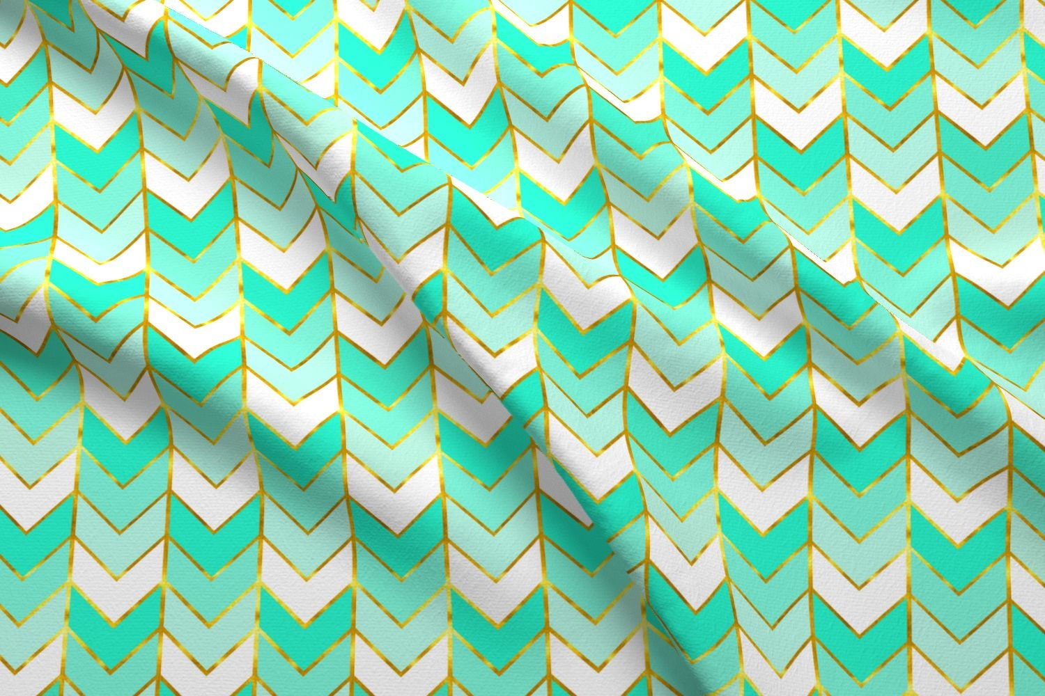 Chevron Fabric - Gilded Ombre Herringbone In Mint By ...