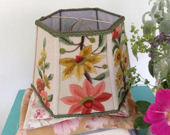 Floral Crewel Lamp Shade, Handmade Lampshade for a desk lamp or boudoir lamp, Vintage textiles - Warm Colors red, gold, green - Only one!s