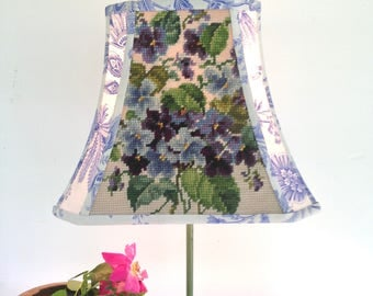 "Rectangle French Blue Lamp Shade, Lampshade with Vintage Needlepoint Violets + Amazing French Fabric , 7""t x 12""b x 9.5"" high - Amazing!"