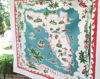 Vintage Florida tablecloth with map pink and turquoise flamingos sailboat palm tree 1950s mid century souvenir kitsch