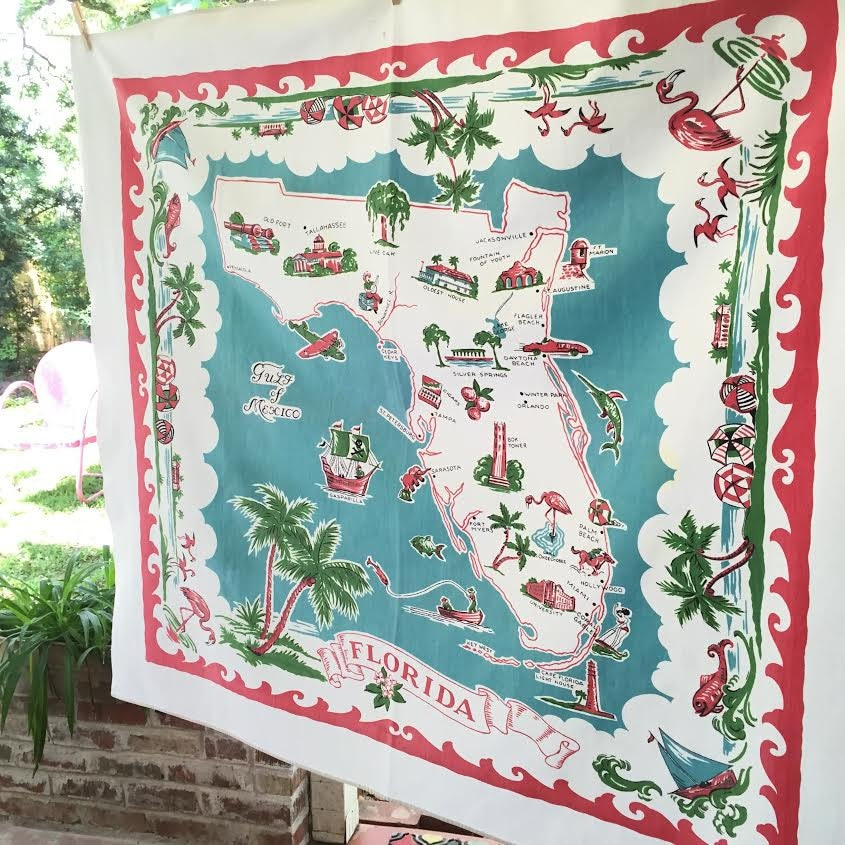 Bright House Ormond Beach Fl: Vintage Florida Tablecloth With Map Pink And Turquoise