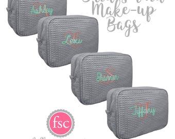 8 bridesmaid makeup bags , bridesmaid waffle make up bag , monogrammed bag, wedding bag , bridesmaid gifts , personalized bridesmaid gifts