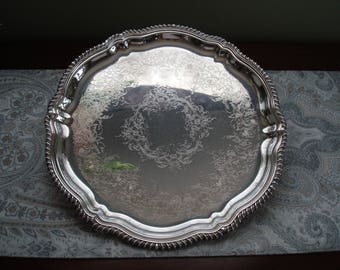 """Fine Quality Staffordshire Webster Wilcox 13"""" Round Silver Tray, Serving Tray, Silver Plate, 1970s, Vintage, Embossed"""