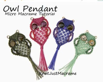 Introductory Special: Micro Macrame Owl Pendant Tutorial - Macrame Owl - DIY - Pattern - Jewelry Making Instruction